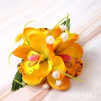 Yellow Orchid Wonder Hawaiian Flower Hair Clip