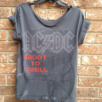ACDC grunge heavy metal cut t shirt ladies medium