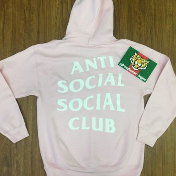 AntiSocial Social Club Hoodie in Pink,ASSC,Kanye West Anti Social Gildan Sweatshirt-kanye clothing-i feel like pablo-concert hoodie-kylie