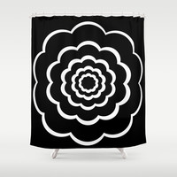 Black and white flower Shower Curtain by Laureenr