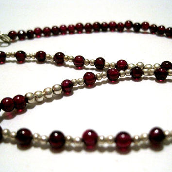 Garnet and Sterling Silver Jewelry Set