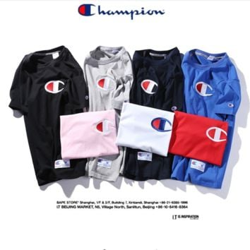 """ CHAMPION"" Fashion loose leisure round neck T-shirt (7 color)"