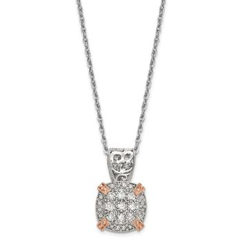 10K Tiara Collection Two-Tone Rose and White Diamond Necklace