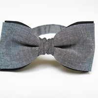 Mens bow tie by Bartek Design - groom wedding neck tie classic retro necktie chic gift ready to wear - gray black double color