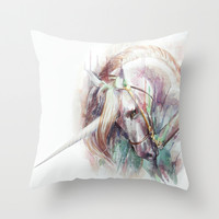 Unicorn Throw Pillow by Beart24