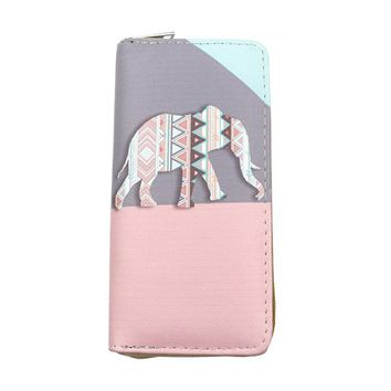 Leather Elephant Print Wallet
