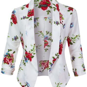 Textured Floral Print  Open Front Ruched 3/4 Sleeve Blazer