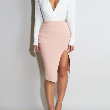 Side Slit Blush Skirt