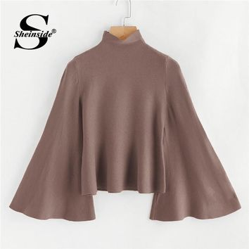 Sheinside Ginger Burgundy Pink 3 Color Women Sweater Stand Collar Bell Sleeve Solid Jumper 2019 Autumn Elegant Knitted Sweaters