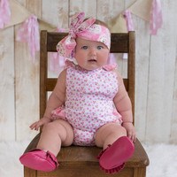 Pink Country Girl Baby Ruffle Bubble Romper Sun Suit & Headband Set