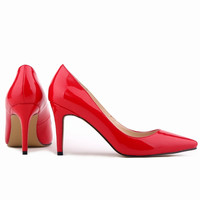 lady Women Patent Leather fashion MID high heels POINTED corset WORK PUMPS COURT SHOES US 4-11