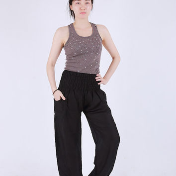 Plain Black  Elephant pants /Hippies pants /Boho pants one size fits harem pant