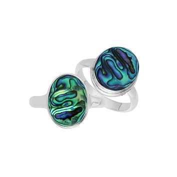 "AR-1089-AB-8"" Sterling Silver Ring With Abalone Shell"