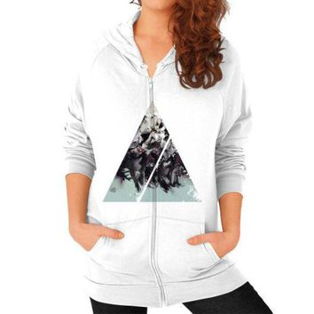 LMFUG7 Geometric Conversation Zip Hoodie (on woman)