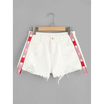 Letter Tape Raw Hem Denim Shorts