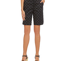 Intro Claudia Dot-Print Sateen Bermuda Shorts - Ebony Black