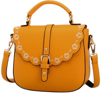 Yellow Floral Trim PU Leather Shoulder Bag