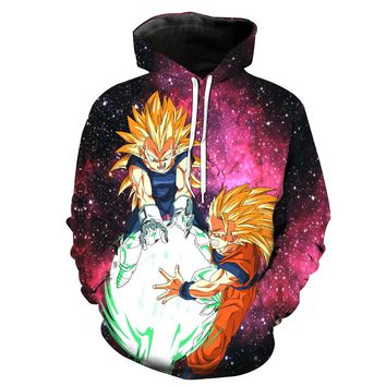 Goku Super Saiyan 3 Kamehameha 3d Print Sweatshirts Men Skateboarding Hoodies Dragon Ball Z Vegeta Hooded Tops Sports Pullovers
