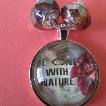 24 inch silver plated link chain, glass photo pendant, Be One with Nature, Motivational, Positive, Flower photo pendant, Nature jewelry