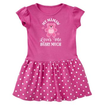 My Mamaw loves me Toddler Dress has cute pink teddy bear for a little girl grandchild from her grandma. $22.99 www.personalizedfamilytshirts.com