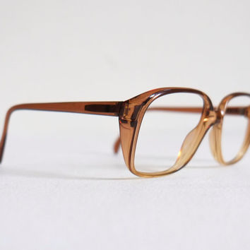 1970's Western Germany Brown Gradient Large Horn Rim Sunglasses Eyeglasses Frames