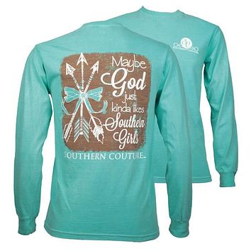 Southern Couture God Likes Southern Girls Arrows Comfort Colors Long Sleeve T-Shirt