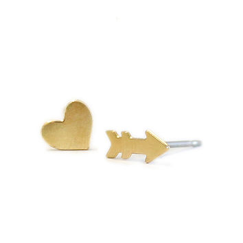 Kris Nations Heart and Arrow Stud Earrings Gold Plated & Sterling Silver
