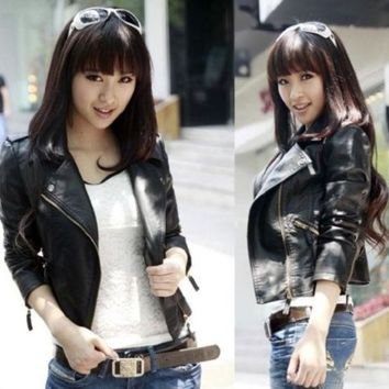 Women Black Slim Biker Motorcycle Faux Leather Zipper Jacket S Xxxl = 1932207172