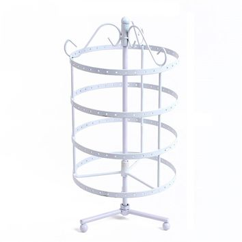 Brand New Jewelry Display Rotating Holder Stand Rack Necklace Earring Organizer White Color