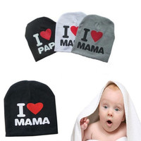 Cute Warm I LOVE MAMA/PAPA Knitted Cotton Beanie Cap for Baby Boy and Girls DNF