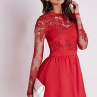 Missguided - Premium Lace Long Sleeve Skater Dress Red