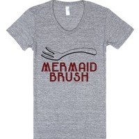 Mermaid Brush-Female Athletic Grey T-Shirt