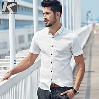 KUEGOU 2017 Summer Mens Casual Shirts Patchwork White Color Brand Clothing Man's Short Sleeve Slim Fit Clothes Male Tops 25525
