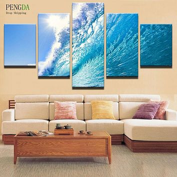 PENGDA Oil Canvas Painting Picture Wall Art Home Decoration For Living Room Printing Type 5 Panel Rolling Waves Modern Frames