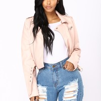 Remind Me Later Faux Leather Jacket - Blush
