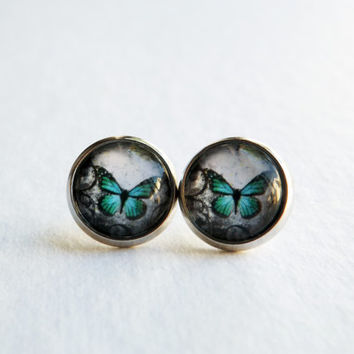 Butterfly Earrings / Monarch Butterfly / Butterfly Jewelry / Teal Green / Fake Plugs / Large Stud Earrings / 12mm / Glass Dome