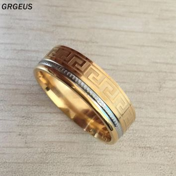 USA fashion stainless steel great wall geometric Ring Mens Jewelry Wedding Band male ring for lover husband dad present/gift