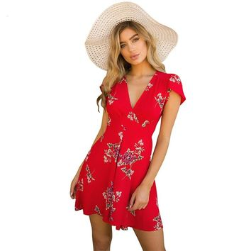 Women Summer Dress 2018 V-Neck Cape Short Sleeve Casual Mini Dress Boho Beach Vinatge Floral Print Dress Chiffon Sundress