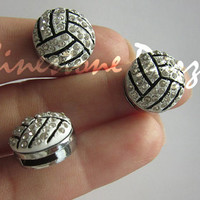 Rhinestone Volleyball Slide Charm, Fits on 8mm Bracelets, 8mm Volleyball Slide Charms, Rhinestone Volleyball Charm