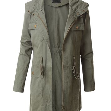 LE3NO Womens Oversized Long Sleeve Military Anorak Parka Jacket with Hoodie