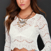 Glamorous Fine Idea Ivory Lace Crop Top