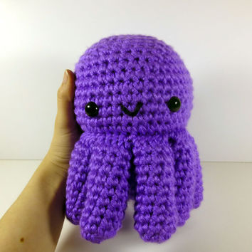 Giant Octopus - Bright Purple - Ready to Ship - Amigurumi Crochet Plushie