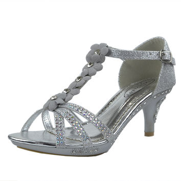 Kids Dress Sandals T-Strap Rhinestone Flower Glit High Heel Shoes Silver SZ