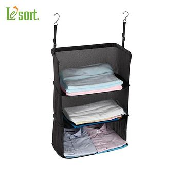 Travel Luggage Organize Storage Suitcase Hanging 3 Shelves to go, Portable Hanging Organizer Clothing Towel Rack Travel Storage