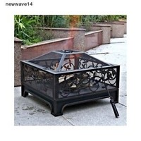 "26"" Steel Fire Pit Outdoor Patio Ring  Backyard Wood Burner Square New"