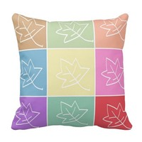 Colorful Geometric Leaf Collage Retro Throw Pillow