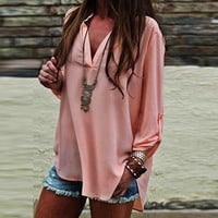 Ladies V-neck Stylish Tee Chiffon Sexy Summer Fashion T-shirts