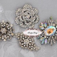4pc Rhinestone Brooch Set