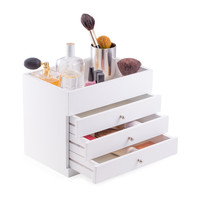 White Wood Make Up Case with 3 Drawers and Open Top