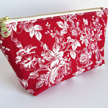 Small Zipper Pouch, Red Makeup Bag, Red Cosmetic Bag, Floral Makeup Bag, Floral Cosmetic Bag, Small Purse Pouch
